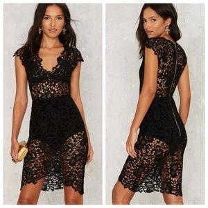Nasty Gal Black Helene Crochet Lace Dress